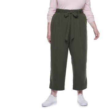 Plus Size POPSUGAR Paperbag-Waist Wide Leg Crop Pants