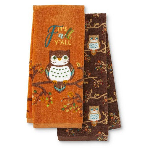 Be Thankful 2-Pack Thanksgiving Kitchen Towels - Owls