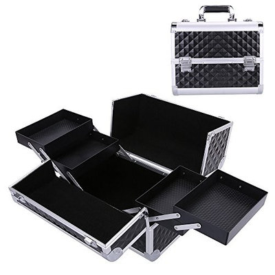 Aluminum Makeup Train Case with 4 Trays, 12.5'' Travel Cosmetic Case with 2 Locks Luggage Box Nail Jewelry Vanity Case FL-132