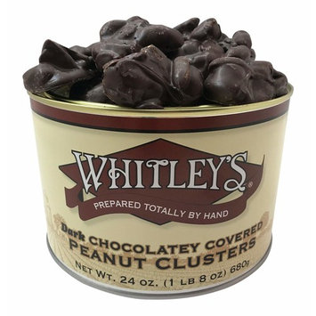 Whitley's Dark Chocolatey Covered Peanut Clusters 24 Ounce Tin