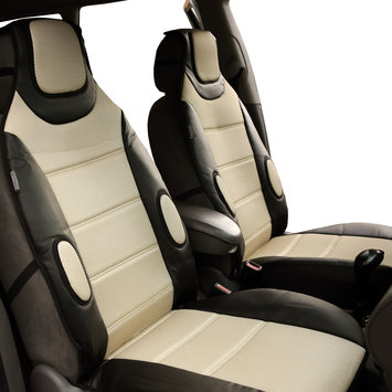 Fh Group Leatherette / Air Mesh Car Seat Cushion Pads Front Set Beige Black