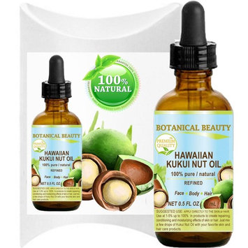 Botanical Beauty KUKUI OIL HAWAIIAN 100% Pure / Refined Cold Pressed Carrier Oil for Skin, Hair, Lip and Nail Care. 0.5 Fl.oz.- 15 ml.