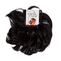 Mia Fluffy Hair Ponywrap-Ponytailer Made of Synthetic/Faux Hair On A Rubberband-Instant Hair/Instant Volume! Black Color-One Size Fits All! (1 piece per package)