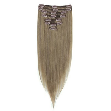 LFLIN Clip In Human Hair Extensions 100% Real Remy Ash Blonde Full Head Long Soft Silky Straight 8pcs 18clips For Women Beauty.