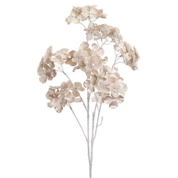 Club Pack of 12 Artificial Champagne Gold Hydrangea Floral Sprays 28