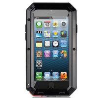 Agptek Shockproof Aluminum Glass Metal Case Cover for iPhone 5 5s Black
