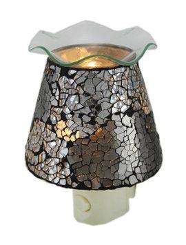 Zeckos Crackled Silver Mirrored Glass Plug In Night Light Oil Warmer