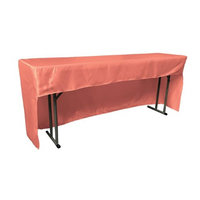 LA Linen TCbridal-OB-fit-96x18x30-CoralB55 Open Back Fitted Bridal Satin Classroom Tablecloth Coral - 96 x 18 x 30 in.