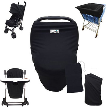 Luvit 5-in-1 Cover for Car Seats, Shopping Carts, High Chairs, Strollers and Nursing Moms in Solid Black