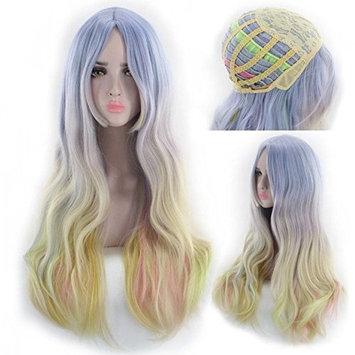 Party Queen Long Natural Wave Women Hair Ombre Color High Temperature Fiber Wigs Synthetic Hair Cosplay Wig