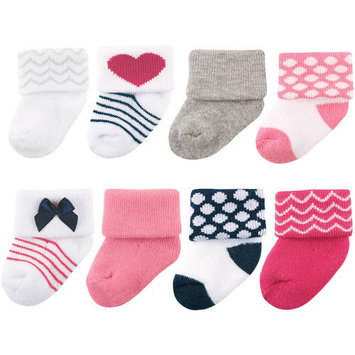 Roll Cuff Crew Socks, 8-Pack (Baby Girls) [baby_clothing_size: baby_clothing_size-0-6m]