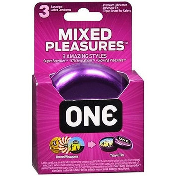 6 Pack - ONE Mixed Pleasures Lubricated Latex Condoms 3 Each