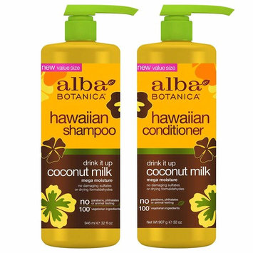 Alba Botanica, Drink It Up Coconut Milk Hawaiian Duo set Conditioner and Shampoo, 24 Ounce Bottles Each