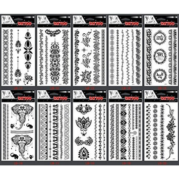Spestyle waterproof and non toxic tattoo 10pcs Black Indian Tribal style Jewelry fake temporary tattoos tattoo stickers in a packages,including jewelry lace,flowers,butterflies,elephants,etc.
