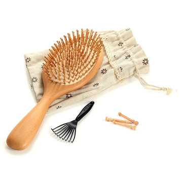 Cade Wooden Comb,Natural Wood Bristles Scalp Massage with Air Bag Hairbrush Large Paddle Hair Care Brush Head Beauty SPA Massager for All Hair Types (S)