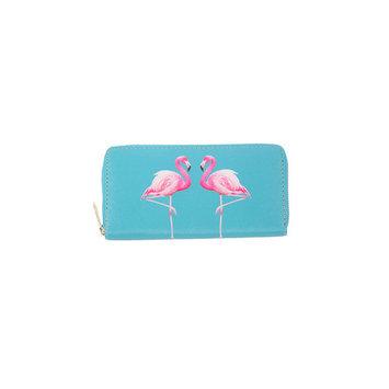 Womens Fashion Print Zipper Long Clutch Purse Wallet FSB19-Blue Flamingos(19174)
