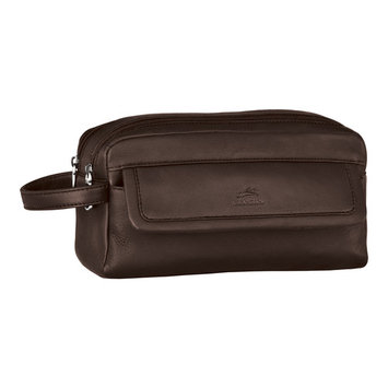 Mancini Leather Double Compartment Toiletry Kit