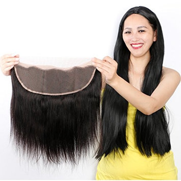 Straight Lace Frontal 14 inches Free Part Ear To Ear Frontal Closure 13x4 Full Lace Frontal Bleached Knots Brazilian Straight Human Hair Extensions []