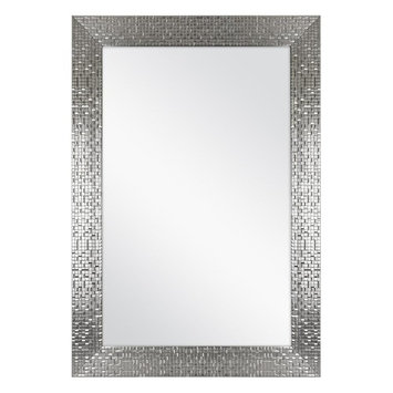 Home Decorators Collection 24.35 in. x 35.35 in. Framed Bath Mirror in Silver