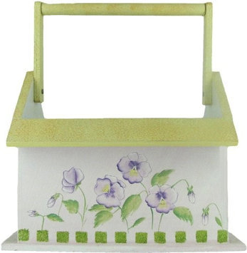 Wooden Utensil Holder With Pansy Design By Russ Berrie