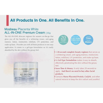 Mosbeau Skin Whitening Placenta White Premium All-in-one Facial Cream New 2015 Includes Patented Japanese Placental Protein. Serves As Whitening Cream, Anti-aging Essence, Moisturizer, Exfoliant, Uv Protection, and Make-up Base.