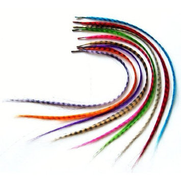 18pcs Grizzly Synthetic Feather Hair Extensions with Beads