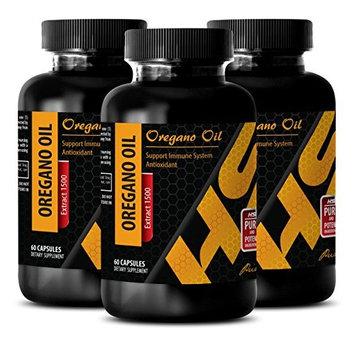 Colon detox - PURE OREGANO OIL EXTRACT 1500 Mg - Oregano leaf oil - 3 Bottles 180 Capsules