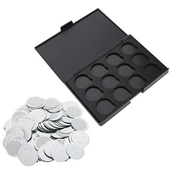 Homyl DIY Empty Magnetic Makeup Palette Case Eyeshadow Lip Gross Powder Cosmetic Panel Organizer with Round Tins Pans