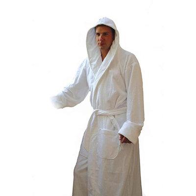 Heavy White Hooded Terry Cloth Bathrobe. XXL Full Length 100% Turkish Cotton. 54 Inch Length