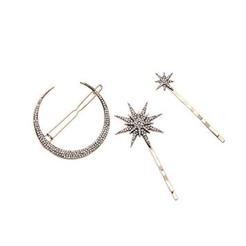 MagiDeal New Popualr Crystal Moon Star Rhinestone Hairpin Hair Clip for Women Gifts