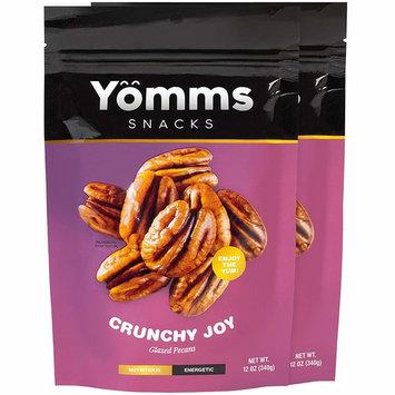 Yömms Glazed Pecan Halves, Pecan Nuts, Gluten Free, Crunchy Joy (12 oz x 2 packs)