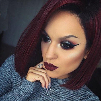 Short Straight Wig,Fashion Girl/Women Red Wine Gradient Wave Bob Woman Synthetic Wig And Wigs 16