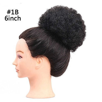 Fluffy Afro Kinky Curly Chignons Updo Hair Bun Synthetic Cozy Ponytail Puff Donut Chignon Wig With Two Plastic Combs Short Wedding Hairstyles Updo 6 or 8inch (6INCH, 1B)