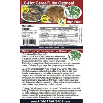 Low Carb Hot Cereal (Oatmeal) - LC Foods - All Natural - Paleo - Gluten Free - No Sugar - Diabetic Friendly - 8 oz