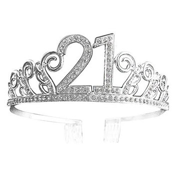 Crystal Tiara Birthday Crown 21th Birthday Pricess Crown (Silver)