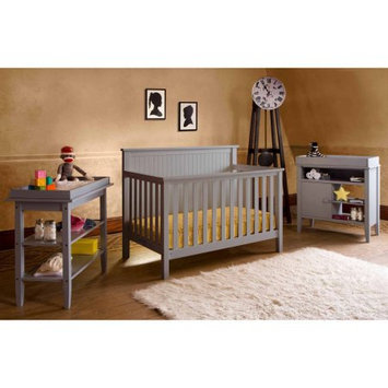Lolly & Me Lolly and Me Americana 4-in-1 Fixed-Side Convertible Crib, Pebble Grey