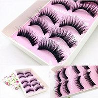 Esharing 5 Pairs Fashion Women Girls Natural Handmade Long Makeup Black False Eyelashes,Beauty and Charming