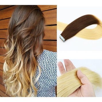 Vario Tape In Human Hair Extensions 7A Color #2 Dark Brown And Color #613 Blonde Ombre Extensions of Remy Hair extensions (18Inch 40g/20PCS #2T613)
