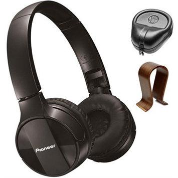 Pioneer On-Ear Wireless Headphones Black SE-MJ553BT-K w/ Wood Stand Bundle