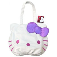 Hello Kitty White Pink Face Tote Bag w/ Purple Bow