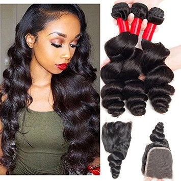 VIPbeauty Virgin Loose Wave Hair Brazilian 3 Bundle Deals With Free part Closure Natural Black 100% Unprocessed Human Hair 95-100g/pc(18 20 22 with 14)