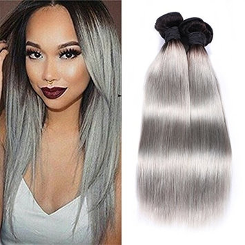 IUEENLY Ombre Brazilian Hair Bundles 2 Tone 1B/Gray Brazilian Virgin Hair Straight Human Hair Weave Extwnsions Black To Gray Color (14 16 18inch)