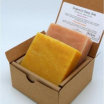 Rose & Ylang Ylang Soap Gift Set (2 Full Size Bars) - Rose, Ylang Ylang - Great for DRY / SENSITIVE SKIN - for FACE and BODY - 85% Organic Ingredients / All Natural
