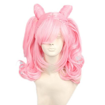 Topcosplay Anime Cosplay Pink Wigs with Two Ponytail Halloween Costume Party Wig