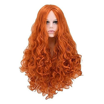 Orange Costume Party Cosplay Woman Long Curly Wavy Wig With Wig Cap and Free Comb
