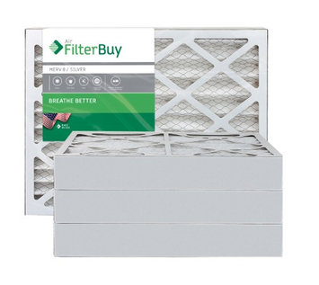AFB Silver MERV 8 14x25x4 Pleated AC Furnace Air Filter. Filters. 100% produced in the USA. (Pack of 4)