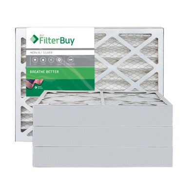 AFB Silver MERV 8 12x25x4 Pleated AC Furnace Air Filter. Filters. 100% produced in the USA. (Pack of 4)