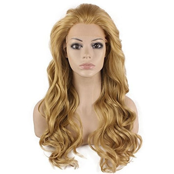 Mxangel Long Wavy Celebrity Synthetic Lace Front Half Hand Tied Heat Resistant Fiber Ash Blond Stylish Wavy Natural Wig