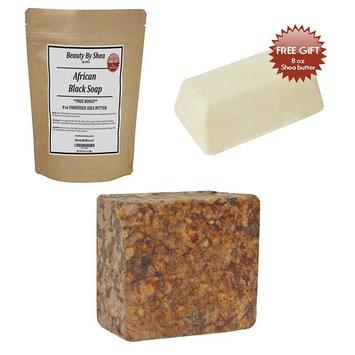 Beauty By Shea Raw African Black Soap Organic Face and Body Wash 1lb-Bonus- 8 oz Shea Butter