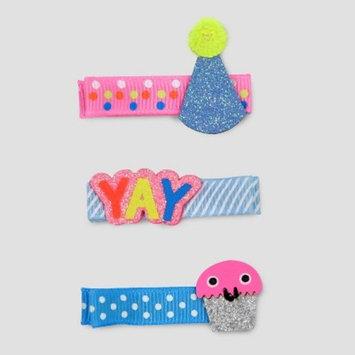 Toddler Girls' 3pk Birthday Hair Clips - Cat & Jack™ Pink/Blue